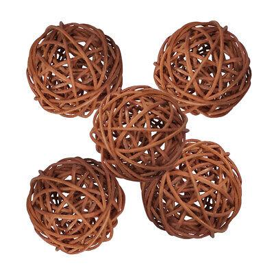 5Pcs Wicker Rattan Balls Decorative Orbs DIY Craft Wedding Home Decoration - Decorative Balls