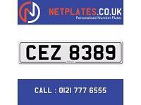 'CEZ 8389' Personalised Number Plate Audi BMW Ford Golf Mercedes VW Kia Vauxhall Caravan van 4x4