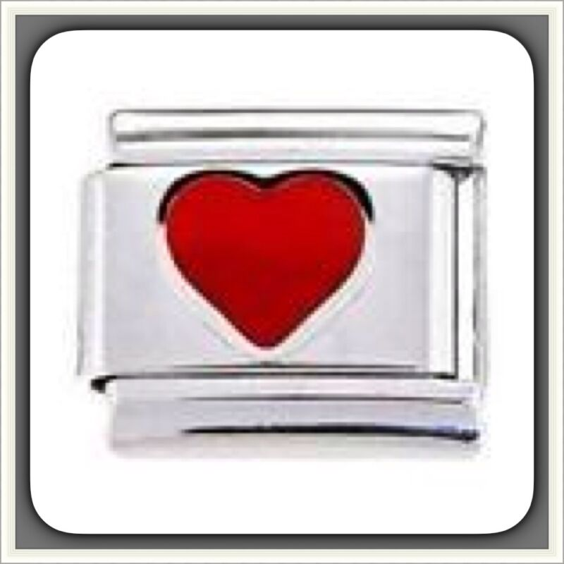 Red Heart ITALIAN CHARM 9mm stainless steel BUYNOW fit Nomination n,n,