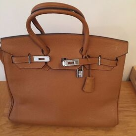 Hermes Style Brown Leather Bag Very Good Condition