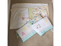 Baby cot bumper and blanket set for mothercare