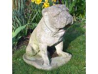 Large Stone Garden Bulldog Ornament