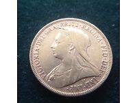 Victorian veil head gold sovereign 1894
