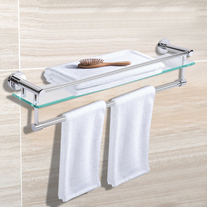 "24"" Glass Bathroom Shelf with Towel Bar in Stainless Wall Mo"