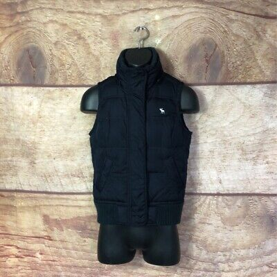 Abercrombie & Fitch Mens Puffer Vest Blue Lined Pockets High Neck Zip Snaps M