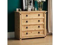 Drawers, 4 Drawer, Rustic, Solid Pine Wood.