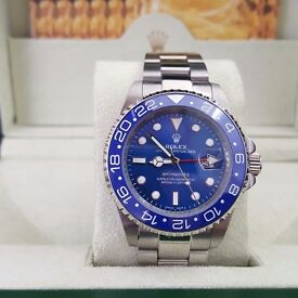 Silver Rolex Gmt Master II With Blue Ceramic Bezel And Blue Face Automatic Sweeping Hands