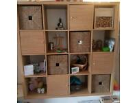 Ikea kallax oak cube unit baskets and doors