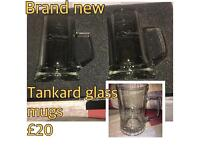 Tankard glass mugs brand new