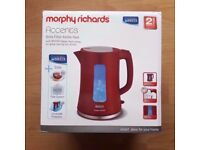 Red Morphy Richards Brita Filter Kettle 1.5 L / 6 Cups Accents Rarely Used