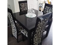 Quality ZONE by G Plan Black Gloss Extending Dining Table & 4 Chairs - cost £800