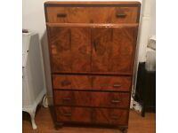 Vintage Art Deco burred walnut tall boy chest