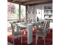 WHITE GLOSS LUCIA Extending Console to Dining Table ONLY 90cm x 51cm-237cm