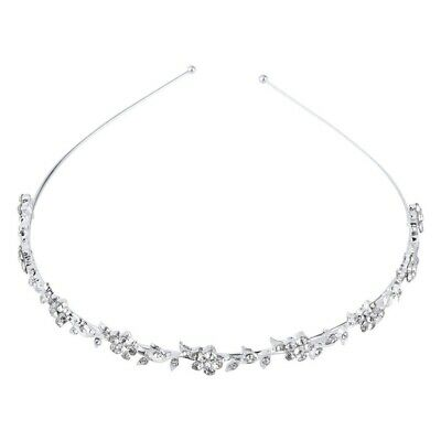 Boda Flor Nupcial de Cristal Para Mujer Hojas Corona Diadema Tiara Tocado