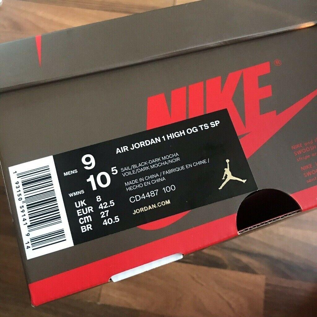 ffffacba952087 Nike Air Jordan 1 Retro High Mocha Travis Scott Cactus Jack UK Size ...