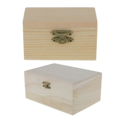 2pcs Small Unfinished Wooden Storage Box Case for Jewellery Gift Wood - Wooden Boxes For Crafts