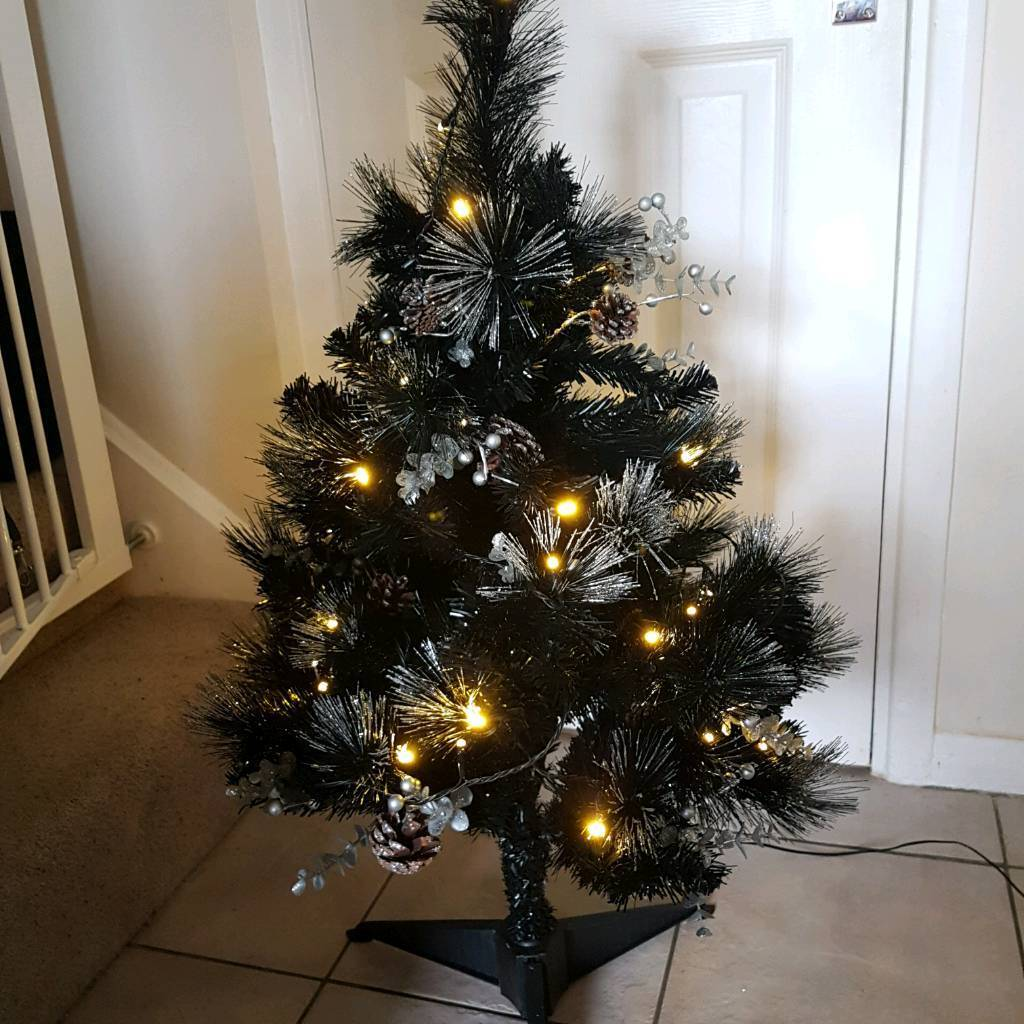 Where Does Christmas Trees Come From: Topiary Black Pre Lit 3ft Xmas Tree