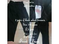 2 pairs of Black School uniform trousers
