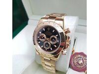 ..Men's Gold Rolex Daytona black face all gold bracelet complete set with Rolex box bag & paperwork