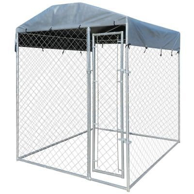 vidaXL Outdoor Dog Kennel Steel Wire Cage Pet Run House Covered Shade 6'x6'