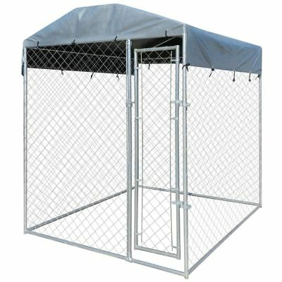Outdoor Dog Kennel Steel Wire Cage Pet Pen Run House Covered Shade Shelter 6'x6'