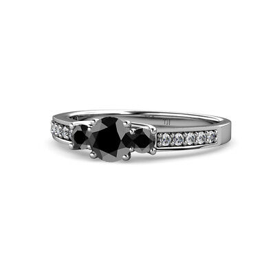 Black Diamond Three Stone Ring with Diamond on Side Bar in 14K Gold (Engagement Rings With Black Diamond Side Stones)