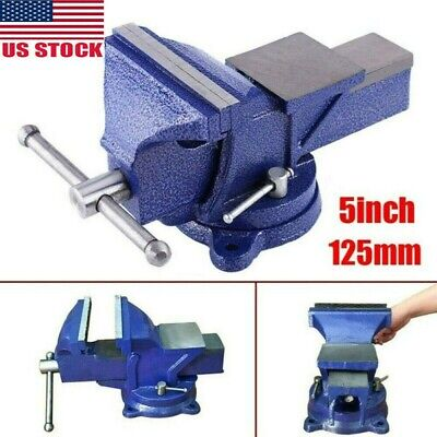 5 Heavy Duty Steel Bench Vise With Anvil - Swivel Locking Base Table Top Clamp