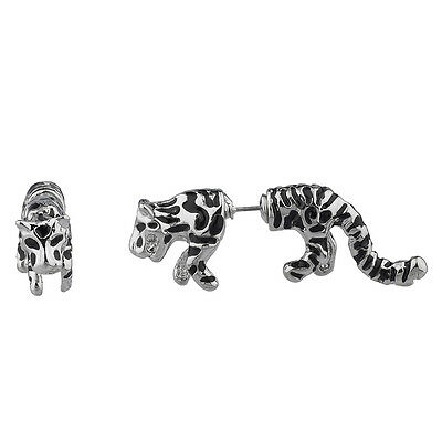 Lux Accessories Tiger Jungle Animal Cat Front Back Stud Earrings. Back Cat Earrings