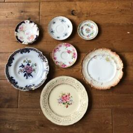 Various vintage plates & saucers with hangings
