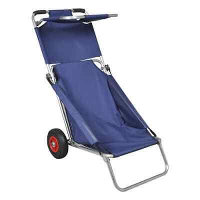 vidaXL Carrito Silla Plegable Portátil de Playa Azul Carro Asiento de Piscina