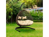 Large double (2 seater) brown hanging egg chair for garden patio