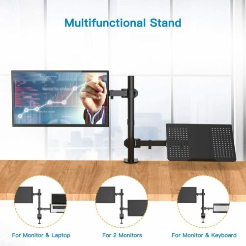 Huanuo Monitor Desk Mount W/ Laptop Tray Adjustable Desk Mount With Clam HNCM2
