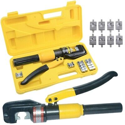 8 Ton Hydraulic Wire Terminal Crimper Battery Cable Lug Crimping Tool w/Dies US