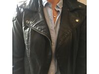 Ladies real black leather jacket size uk 8, excellent condition
