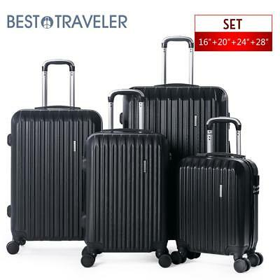 4 Piece ABS Luggage Set Light Travel Case Hardshell Suitcase 16