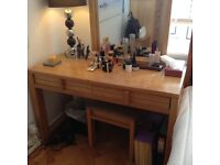 Solid oak dressing table with drawers for sale