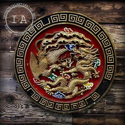 Vintage Traditional Chinese Decorative Wood Panel Dragon Phoenix Sign