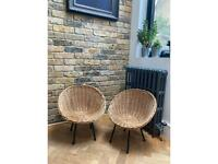 Vintage wicker child's pair of chairs