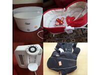 Baby carrier , Electric Steam Steriliser, tiny love rocker, Perfect Prep Machine