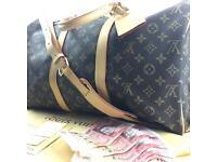 Louis Vuitton brown keepall 45 lv print designer