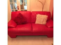 Red leather 3 piece suite. Excellent condition, non-smoking family