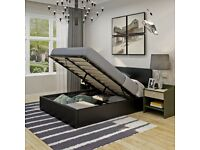 🌈🌈FAST DELIVERY🌈🌈 SINGLE LEATHER STORAGE BED FRAME WITH SEMI ORTHOPEDIC MATTRESS - BLACK/BROWN