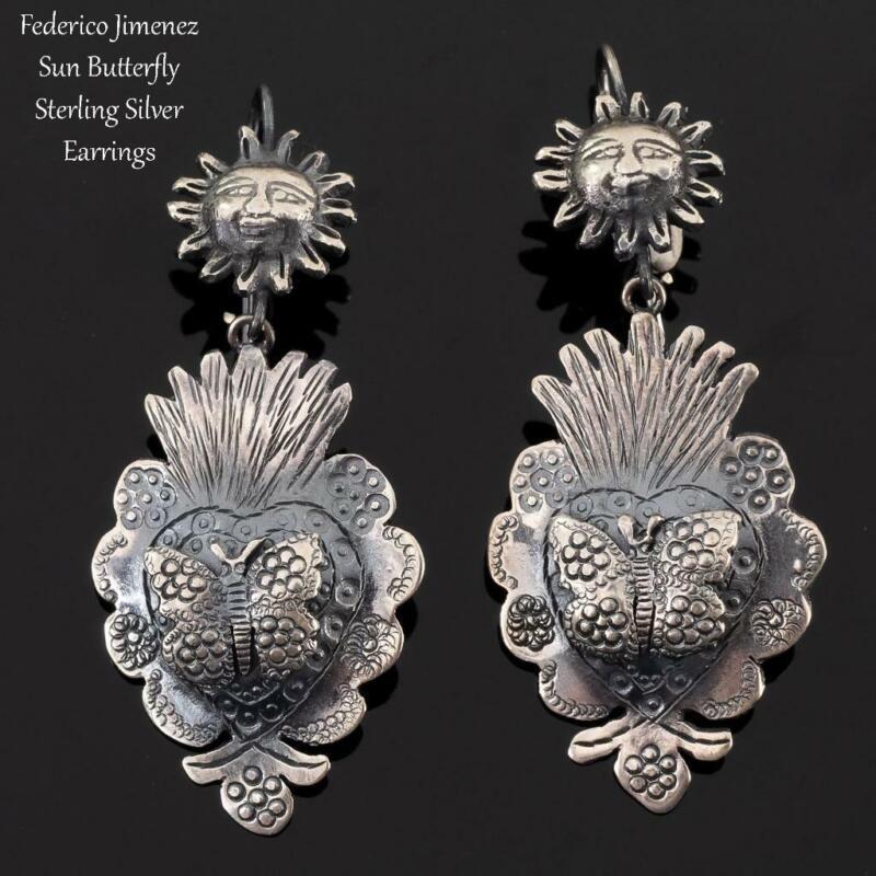 """FEDERICO JIMENEZ Earrings """"Sun Butterfly"""" Sterling Silver FRIDA KHALO"""