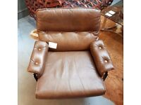 Swedish Arne Norell Vatne Brown Leather Chrome Low Back Swivel Armchair