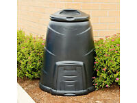 Black Compost Bin - Full of soil