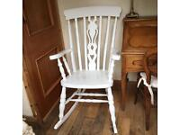 A SUPER SHABBY CHIC ROCKING CHAIR FIDDLE DESIGN TO THE CENTRE BACK