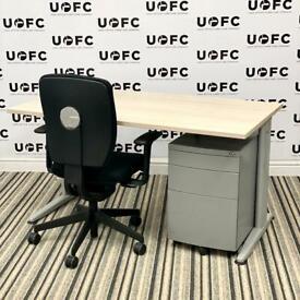 Senator Jigsaw Desk in Light Oak