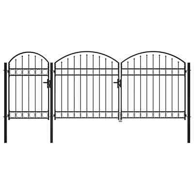 vidaXL Garden Fence Gate with Arched Top Steel 2x4m Black Yard Drive Gates