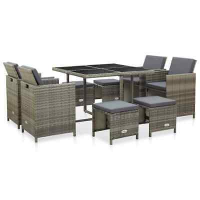 Garden Furniture - vidaXL Outdoor Dining Set with Cushions 9 Pieces Poly Rattan Gray Patio Garden