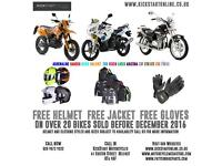 Free helmet jacket and gloves with selected pre-reg bikes and scooters